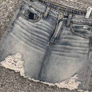 AEO Jean Lace Skirt HI-RISE FESTIVAL Distressed 00